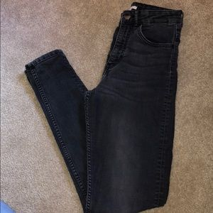 Faded gray high waisted jean